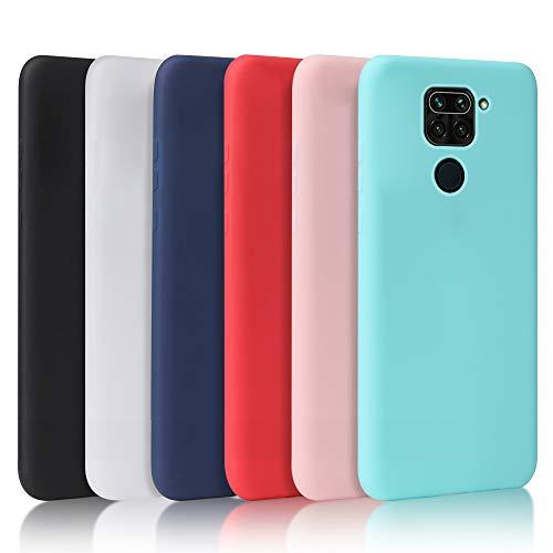 Pack de 6 Coque Xiaomi Redmi Note 9, Coque pour Xiaomi Redmi Note 9 en Silicone, Housse de téléphone Noir + Blanc Translucide + Bleu Clair + Rouge + Rose + Menthe Vert