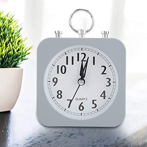 Wifehelper Vintage Retro Clásico Reloj de Alarma de Escritorio Silencioso Timbre sonoro Campana Reloj de Alarma Doble Campana Funciona con Batería Color Gris