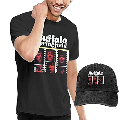 Buffalo Springfield Camiseta de Manga Corta y Sombrero de Vaquero Lavado para Hombre Buffalo Springfield