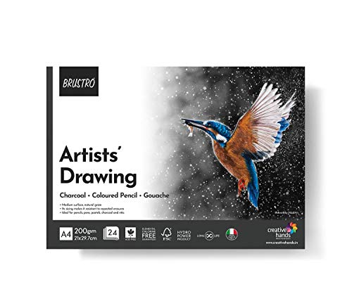 BRUSTRO Artist Drawing Glued Pad, 200 GSM, A4-24 Sheets