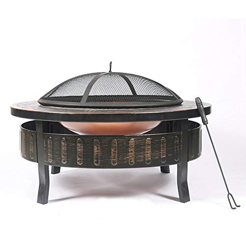 JIACTOP Outdoor Fire Pits, Round Metal 32 Inch Fire Pit with Base, Spark Screen, Screen Lift Tool, Outdoor Table and Indoor Multifunctional Charcoal Stove
