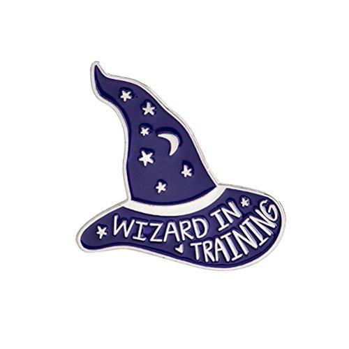 Hexe Zauberer Hut Brosche Wizard IN Ausbildung Emaille Pins Schnalle Jeansjacke Shirt Kragen Revers Pin Abzeichen Schmuck Geschenk (XZ045)