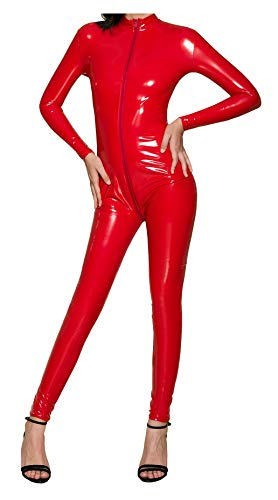 L04BABY Women Patent Leather Long Sleeve Zipper Lingerie Red Bodysuit Jumpsuit M