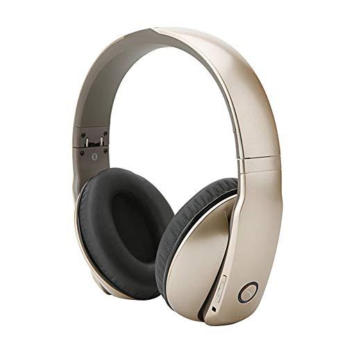 TNXB Draadloze Bluetooth Over Ear Headset, Microfoon, Geluidsisolerend Geheugen Schuim, Verstelbare en Immersive Stereo Haptic Bass, size, Goud