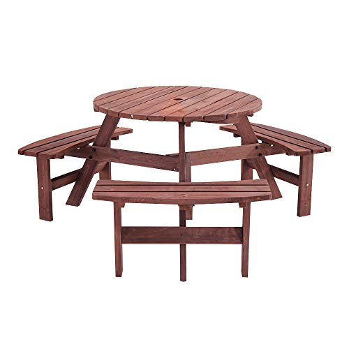 Panana 6 Seater Wooden Round Picnic Table and Bench Set Large Garden Furniture Set Seats Patio Pub Outdoor