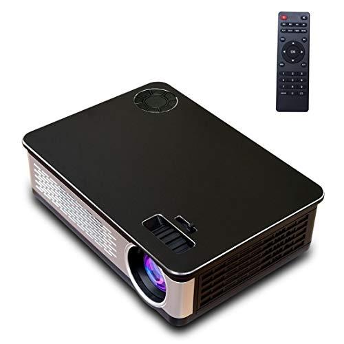 A76 - Pantalla LCD de 5,8 pulgadas, 1280 x 768P, proyector inteligente con control remoto, Android 6.0, compatible con AV/VGA/HDMI, USBX2, tarjeta SD, audio (color negro)