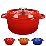 WISELADY Enameled Cast Iron Dutch Oven Bread Baking Pot with Lid (2QT, Red)