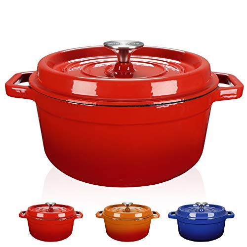 WISELADY Enameled Cast Iron Dutch Oven Bread Baking Pot with Lid 3QT Red