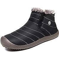 Botas de Nieve Hombre Mujer Calientes Botines Zapatos de Invierno Fur Forradas Cortas Planas Tobillo Deportes al Aire Libre Boots