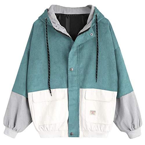 LJLLINGA Chaqueta de Mezclilla de Primavera Abrigo Suelto con botón Verde Militar Chaqueta de Jeans para Mujer Ropa de Calle con Dobladillo Irregular