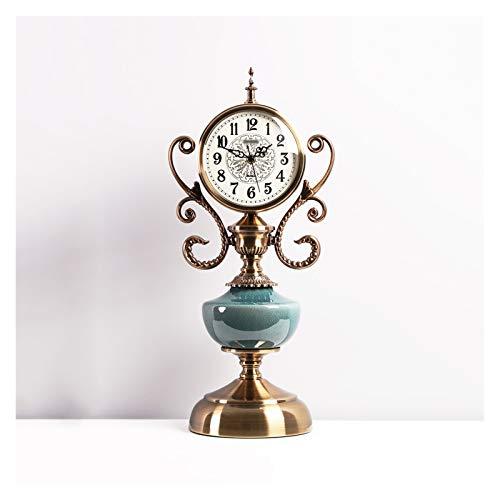 Reloj de Mesa Luz de Lujo Metal Tabletop Clock Retro Hogar Sala de Estar Escritorio Adornos Reloj Números árabes Reloj de Mantel Unilateral 20.4 Pulgadas Relojes de Escritorio