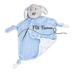 Schmusetuch mit Namen bestickt Kuscheltuch Schnuffeltuch Kuscheldecke für Baby | Hund mit Rassel Blau