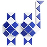 Mipartebo Magic Snake Cube Twist Puzzle 72 Wedges Brain Teaser Fidget Sensory Toys Big Size Party Favors for Kids Blue