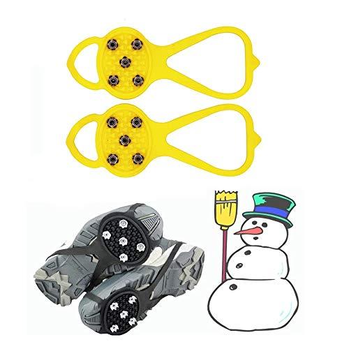 Alicates universales Antideslizantes Puntas Antideslizantes en el Zapato Tacos duraderos Zapato Duradero Agarres para Hielo y Nieve Deportes de Invierno, Caminar (para niños, Amarillo)
