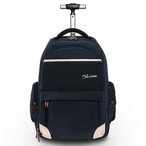 HollyHOME 19 inches Wheeled Rolling Backpack for Men and Women Business Laptop Travel Bag, Upgrade Blue