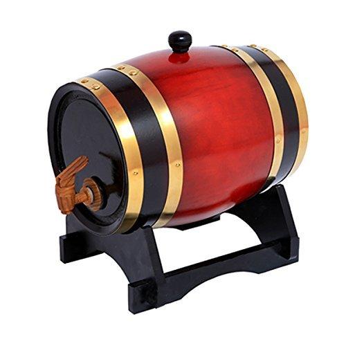 Whisky-Fass aus Eichenholz, 1,5 l, für Wein, Spirituosen, Bier und Likör, Rot (mit gebrannten Eichenchips)