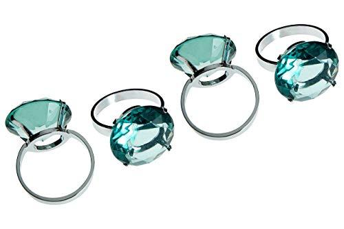 Premier Housewares Serviettenringe mit Strvasasteinen, 4 Stück, Chrom, blau, 4 x 5 x 6 cm, Diamant, Grun, 5x4x6, 4