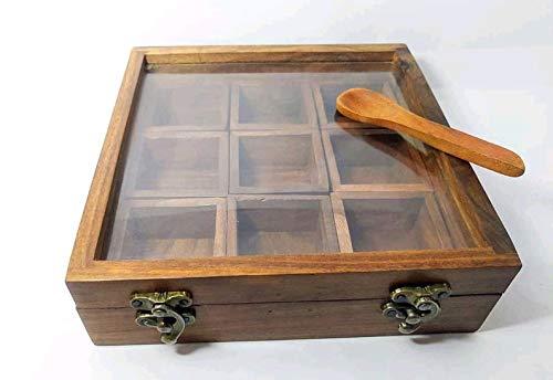 Metallic India Caja de especias con cuchara en madera para especias, contenedor de especias Masala, caja de almacenamiento para contenedores de madera