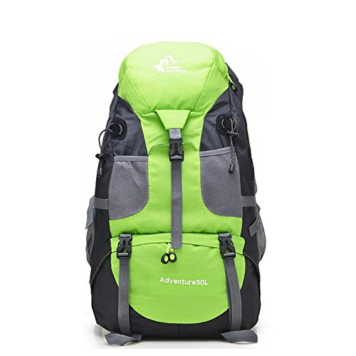 Sac de sport Randonnée à dos 50L Big Capacité Sports de plein air Sac à dos Alpinisme Camping Voyage pour Femmes Hommes , green