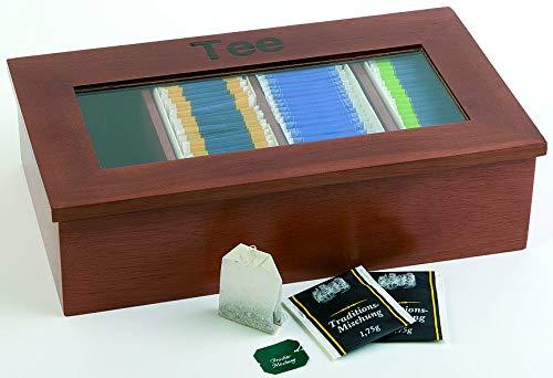 APS Teebox – Premium Tee-Holzbox mit Sichtfenster – 4 Kammern können mit jeweils 30 kuvertierten Teebeuteln befüllt Werden – Deckel bleibt offen Stehen