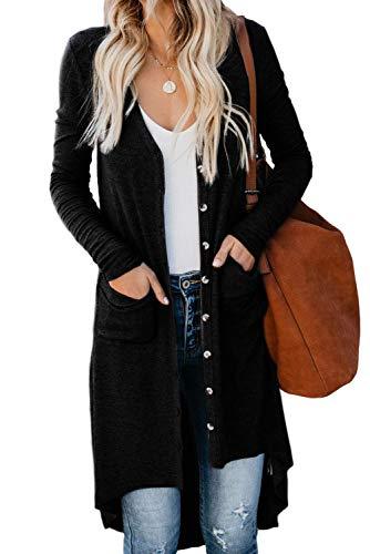 ZIYYOOHY Damen Strickjacke Knit Cardigan Lang Langarm V Ausschnitt mit Knopf Strickpullover Tops Outerwear (XL, Schwarz)