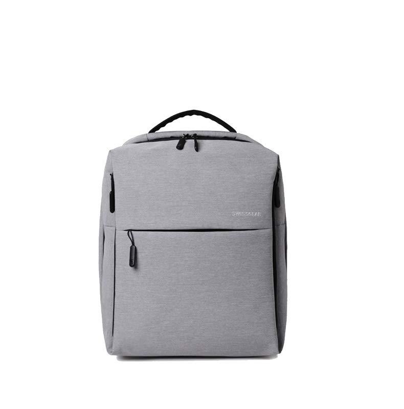 极简都市双肩包多功能学生书包电脑包男女时尚商务包 (浅灰色)