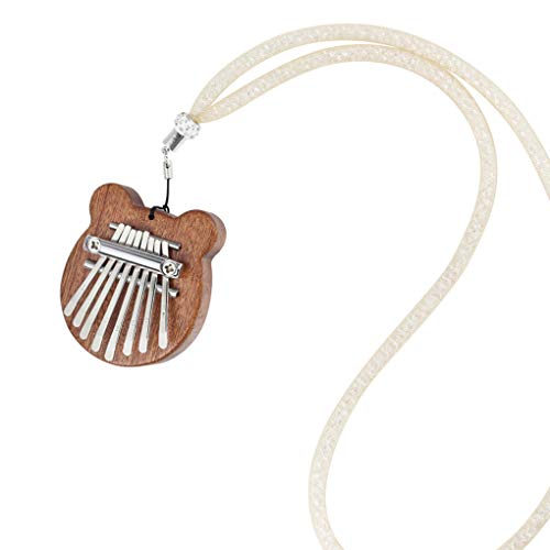 kexinda Daumenklavier Mini 8 Keys tragbares hölzernes Musikinstrument mit Lanyard Fingern Piano-Musik-Geschenk
