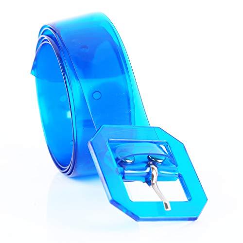 SEVENHOPE Ceinture carrée Boucle Transparente gelée pour Les Femmes Hommes Taille Ceintures (Bleu)