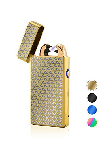 TESLA Lighter T08 Special-Edition 3D Waben Gold Lichtbogen Feuerzeug USB Aufladbar Elektro Sturmfest Plasma Doppel-Lichtbogen mit Akku