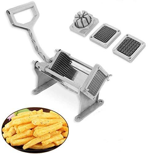 Pommesschneider, professionell, Edelstahl, Kartoffelschneider, manuell, mit 4 austauschbaren Klingen, für Gemüse und Obst