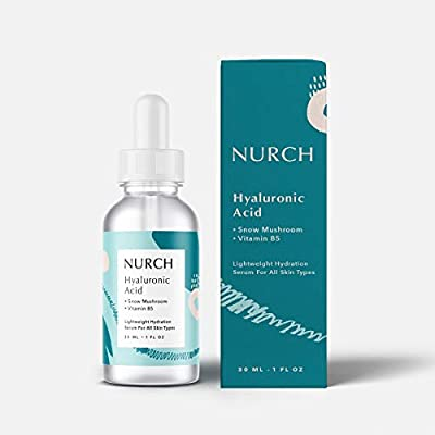 NURCH Pure Hyaluronic Acid Serum for Face + Vitamin B5 + Snow Mushroom   Natural & Lightweight for Anti-Aging   Vegan, Clean, & Fragrance Free   Moisturizer Hydrates Dry Skin & Reduce Fine Lines, 1 Oz