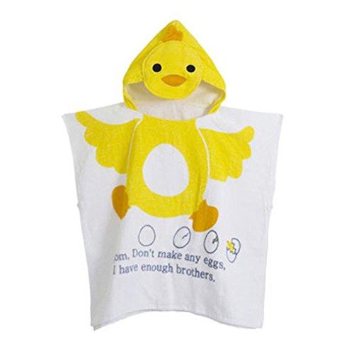 Gagacity Unisex Bambini Teli da Poncho da Bagno con Cappuccio,Coperta Morbida Cotone di Balneazione Wrap Vestaglia per 1-6 Anni/Pulcino Giallo