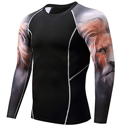 RANTA 2020 Sales Herren Base Layer Tops Kompressions-Shirt Unter 5 Euro Schnelltrocknend Thermounterwäsche Fitness Sport T-Shirt Jogging Langarm Base Layer Funktionsshirt