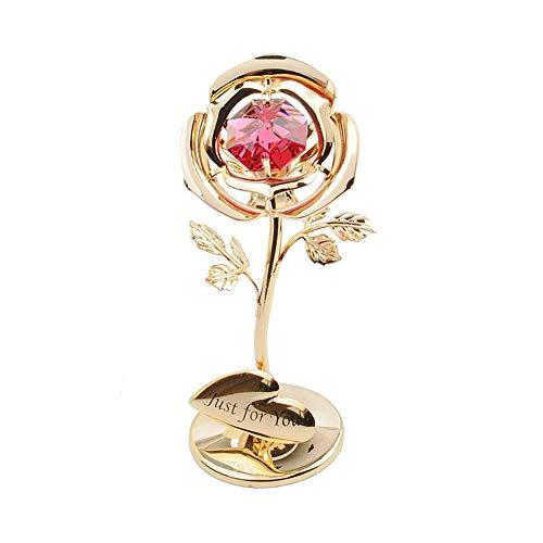 Ruiting Rosa 24k,Rosa Eterna Flores Chapadas en Oro con Cristal en Forma de Corazón Rojo con Caja Romántico Regalo para San Valentín Aniversario Cumpleaños