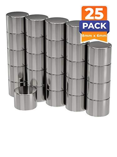 25 x Discos magnéticos de neodimio | Imán/Imanes | Diámetro Ø 8 mm, altura 6 mm | niquelados (NiCuNi) | Fuerza de sujeción (fza. sujec.): aprox~ 2.2 kg | 25 uds. Disco magnético