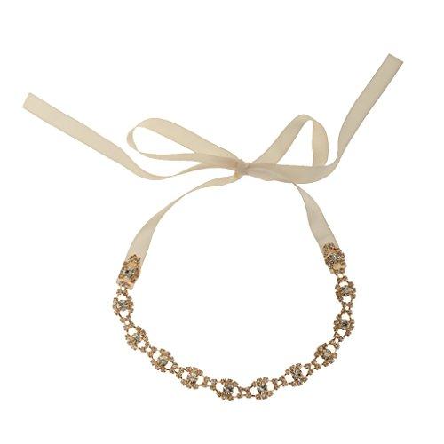 dailymall Femmes Lady Girls Gold Rhinestone Wedding Bride Crystal Bling Hair Headband