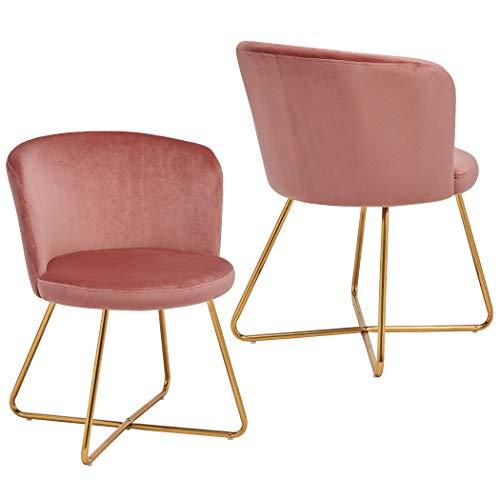 2er Set Esszimmerstuhl aus Stoff Samt Polsterstuhl Retro Design Stuhl mit Rückenlehne Besucherstuhl Metallbeine Farbauswahl Duhome 8076X, Farbe:Rosa, Material:Samt