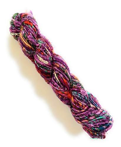 Recycled Chunky Banana Silk Yarn for Knitting, Weaving and Crochet / Thick Yarn 100gm (Purple)