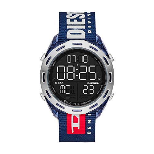 Diesel Men's Crusher Anadigi Blue-Tone Nylon Watch DZ1915