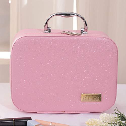 Grote capaciteit Make-up Organizer PU Stof Cosmetische Opbergdoos Draagbare Reizen Make-up Case Multifunctionele Toilettas Met Spiegel roze