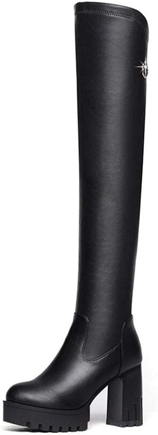 Women Long Boots, High Boots, Knight Boots, Sexy Over The Knee Boots Pointy Toe High Heel Long Boots Black with Zipper Office & Career (color   Black, Size   36)