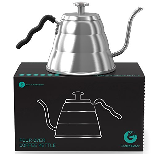 Gooseneck Kettle - Coffee Gator Pour Over Kettle - Precision-Flow Spout and Thermometer - Barista-Standard Hand Drip Tea and Coffee Kettle for Induction and all Stovetops - 34oz