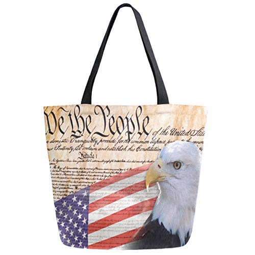 ZzWwR Constitution Of America Bald Eagle USA Flag Print Extra Large Canvas Shoulder Tote Top Storage Handle Bag for Gym Beach Weekender Travel Reusable Grocery Shopping
