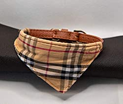 🐶 🐶 Dog / Puppy Leather Bow/Bandana/Style Tartan Dogtooth Camouflage Patterned Collar. 🐶 🐶 All of these collars use brown leather and have metal belt style buckles; these are the safest type of collar and recommended by animal welfare organisations t...