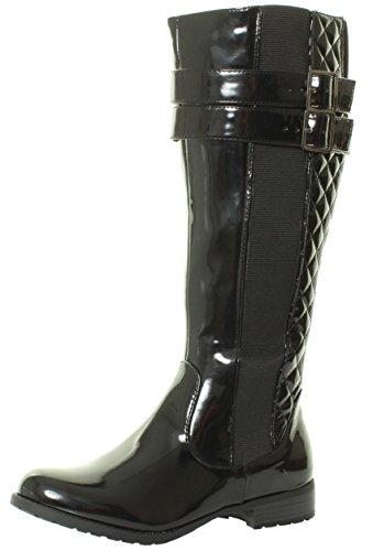 Tilly London HAT1 NEU Damen-Frauen Kniehohe flach Absatzhöhe schwarzem Lackleder gesteppten Biker Reitstiefel Größen 36 37 38 39 40 41 (39, Schwarzem Lackleder)