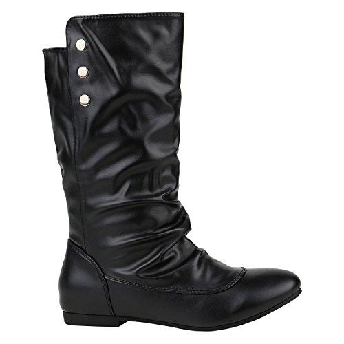Bequeme Damen Schlupfstiefel Zierknöpfe Leder-Optik Stiefel Schuhe 125861 Schwarz Schwarz 38...