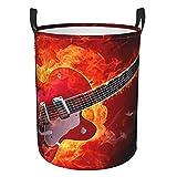 Cestas de lavandería grandes plegables para la colada, para el fuego, guitarra eléctrica, color naranja fresco, cubo de almacenamiento impermeable ligero para organizador de juguetes
