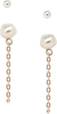 Fossil - Ensemble de boucles d'oreilles en laiton doré rose perlé pour femme JA7074791