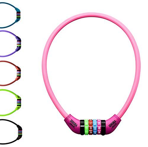 Büchel Kinder Fahrradkombinationsschloss Sekura KB208, 4-stellig programmierbar, mit Überzug, Pink, 65 cm, 60505208