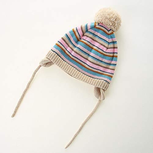 AHAHA Bonnet Bebe Fille et Garçon Hiver Bonnet Pompon Bebe en Coton 0-2 Ans